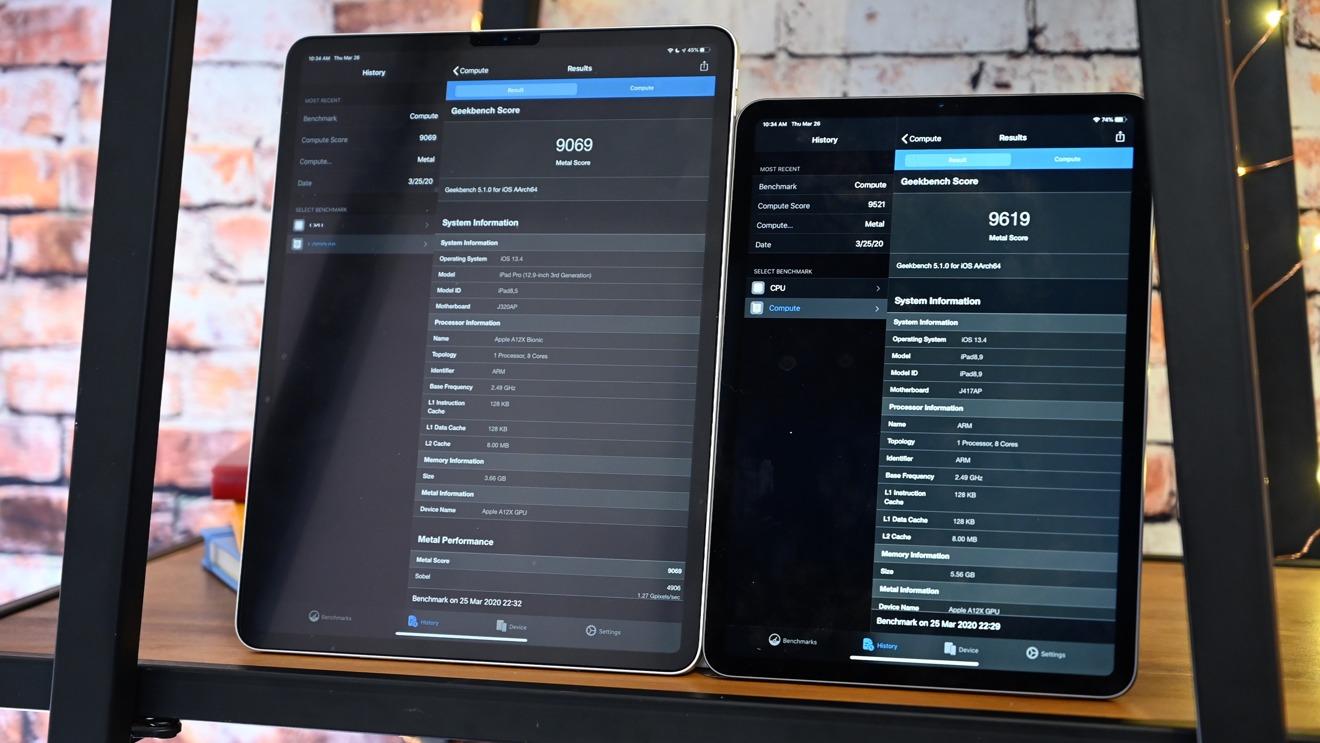 Показатели компьютерной графики iPad 2018 (слева) и iPad 2020 (справа) в программе Geekbench