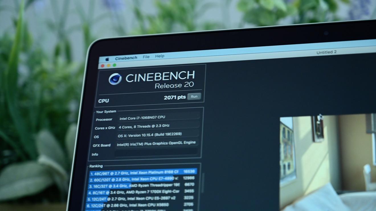 Результаты 3-дюймового MacBook Pro 2020, полученные в программе Cinebench R20