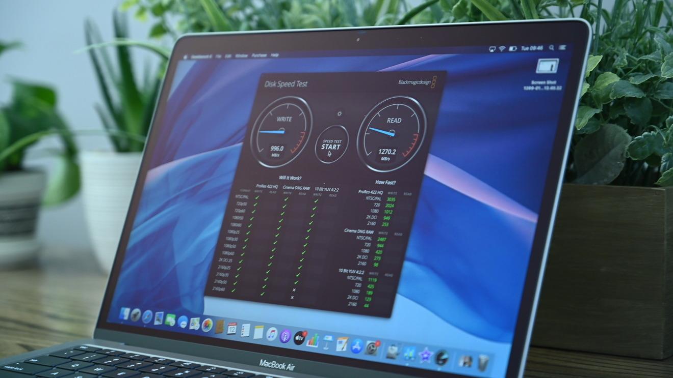 Результаты MacBook Air 2020, полученные в программном приложении Blackmagic Disk Speed Test